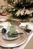 Christmas decoration with silver tray stock photography