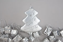 Christmas decoration silver tree with garland Stock Image