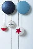 Christmas decoration simple and natural. On door Stock Image
