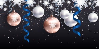 Christmas decoration for site horizontal seamless. Festive Christmas decoration for website, social networks, blog or your video channel. Seamless horizontal Stock Images