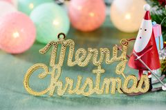 Christmas decoration, skating santa claus with christmas english character and Christmas imagery. Christmas decoration, skating santa claus with christmas Stock Image