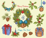 Christmas decoration sketch colored Stock Images