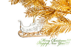 Christmas decoration sled Stock Images
