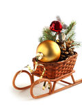 Christmas decoration sledge Royalty Free Stock Photo