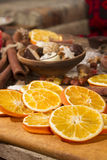 Christmas decoration with slices of dried oranges. Christmas food decoration with slices of dried oranges Stock Image
