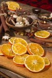 Christmas decoration with slices of dried oranges. Christmas food decoration with slices of dried oranges Royalty Free Stock Photo