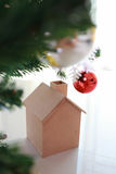 Christmas decoration with small wooden house Royalty Free Stock Photos