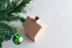 Christmas decoration with small wooden house Stock Photography