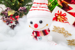 Christmas decoration and smiling snowman Stock Photos