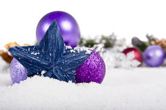 Christmas Decoration on snow royalty free stock images
