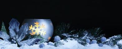 Christmas decoration on snow. At night Royalty Free Stock Photo
