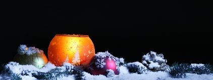 Christmas decoration on snow. At night Royalty Free Stock Image