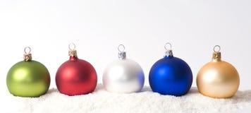 Christmas decoration on snow. Christmas glass ball on snow Royalty Free Stock Images