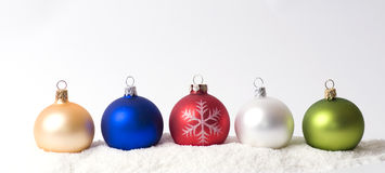 Christmas decoration on snow Royalty Free Stock Photos