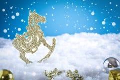 Christmas decoration On Snow. Christmas decoration background, swon, ornaments Royalty Free Stock Photos