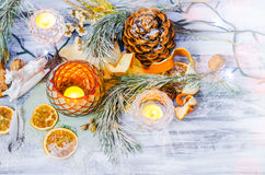 Christmas decoration with snow covered fir branches Stock Images