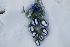 Christmas decoration on the snow Royalty Free Stock Image