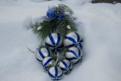 Christmas decoration on the snow Royalty Free Stock Photo