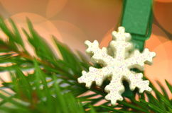 Christmas decoration, snow flake on clip Royalty Free Stock Photo