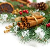 Christmas Decoration with snow Royalty Free Stock Image