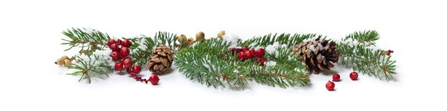 Christmas Decoration with snow Stock Photos