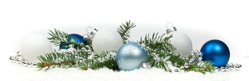 Christmas Decoration with snow Isolated on White Background Royalty Free Stock Photo