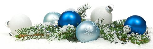 Christmas Decoration with snow Isolated on White Background Stock Photography