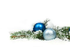Christmas Decoration with snow Isolated on White Background Stock Image