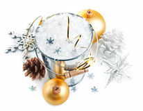 Christmas decoration with snow and snowflake Stock Photography
