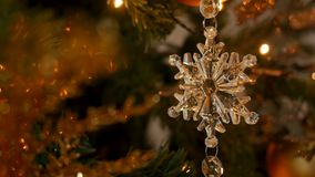Christmas decoration snowflake and composition. On a Christmas tree stock footage