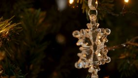 Christmas decoration snowflake and composition. On a Christmas tree stock video