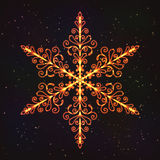 Christmas Decoration Snowflake with Glow Effect. Royalty Free Stock Photo