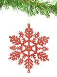 Christmas decoration snowflake on the tree. Stock Photo