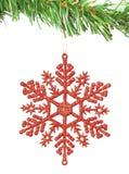 Christmas decoration snowflake on the tree. Stock Photo