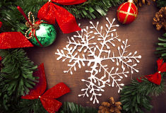 Christmas decoration with snowflake Stock Image