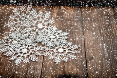 Christmas decoration snowflakes with falling snow effect Stock Photo