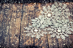 Christmas decoration snowflakes with falling snow effect Royalty Free Stock Photography