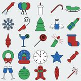 Christmas decoration, snowflakes, gifts, icons. Winter holidays royalty free illustration