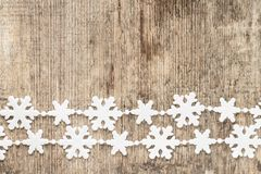 Christmas decoration. snowflakes on wood Royalty Free Stock Photography
