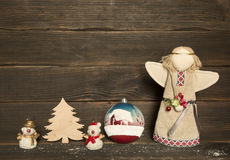 Christmas decoration: snowman, christmas tree, toy, angel Royalty Free Stock Photos