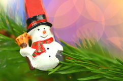 Christmas decoration, snowman on clip Royalty Free Stock Photo