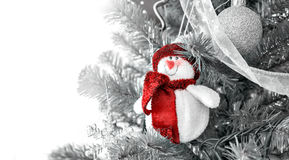 Christmas decoration snowman. Desaturated background royalty free stock photo