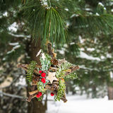 Christmas Decoration in Snowy Forest Stock Image