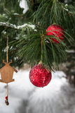 Christmas Decoration in Snowy Forest Royalty Free Stock Photo