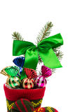 Christmas decoration in a sock Royalty Free Stock Photography