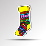 Christmas decoration sock xmas winter background red holiday san Stock Images