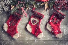 Christmas decoration with socks Royalty Free Stock Photos