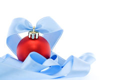 Christmas decoration with soft blue ribbon Royalty Free Stock Photos
