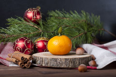 Christmas decoration. Some christmas decoratifs objects with orange stock photo