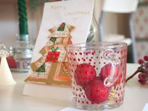 Christmas decoration. Some christmas decoration on a desk stock images